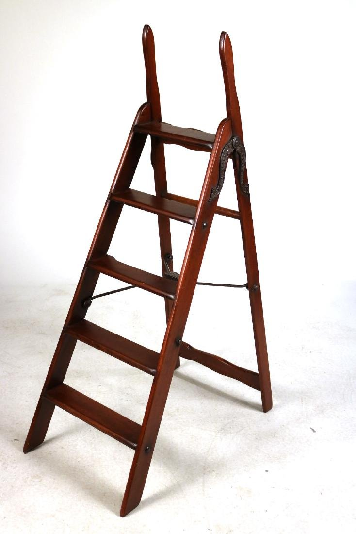 Simplex Cast-Iron and Mahogany Library Ladder