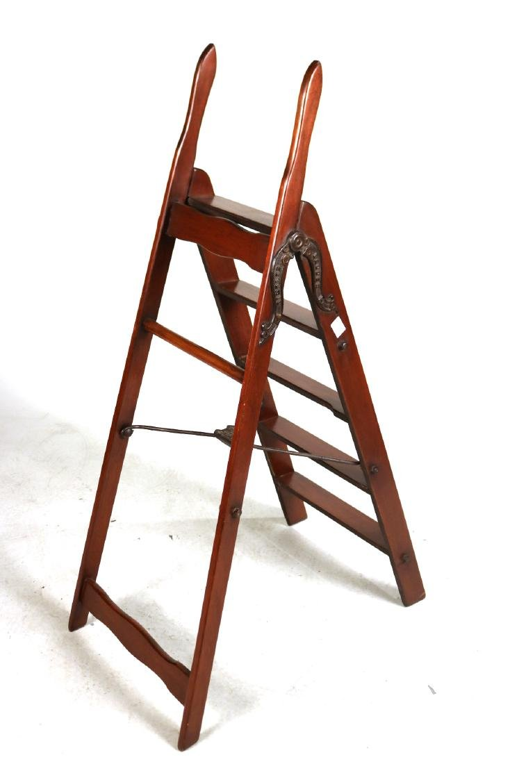 Simplex Cast-Iron and Mahogany Library Ladder - 5
