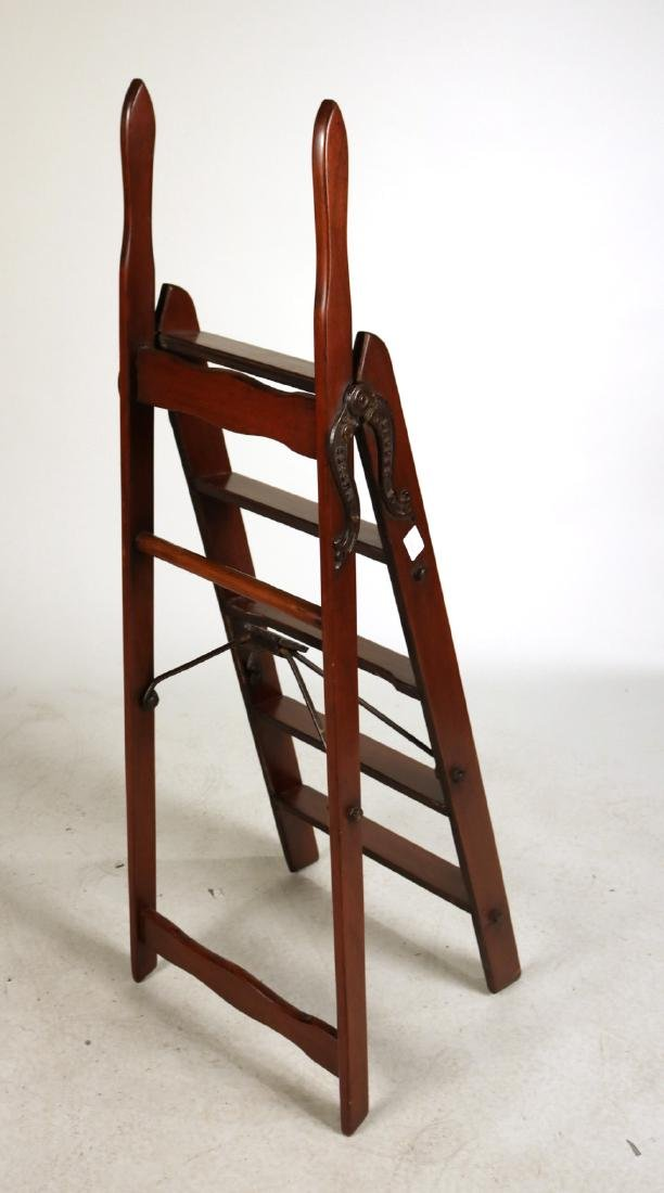 Simplex Cast-Iron and Mahogany Library Ladder - 6