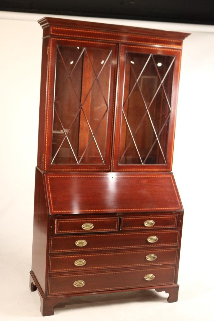 Federal Style Inlaid Mahogany Bookcase Secretary