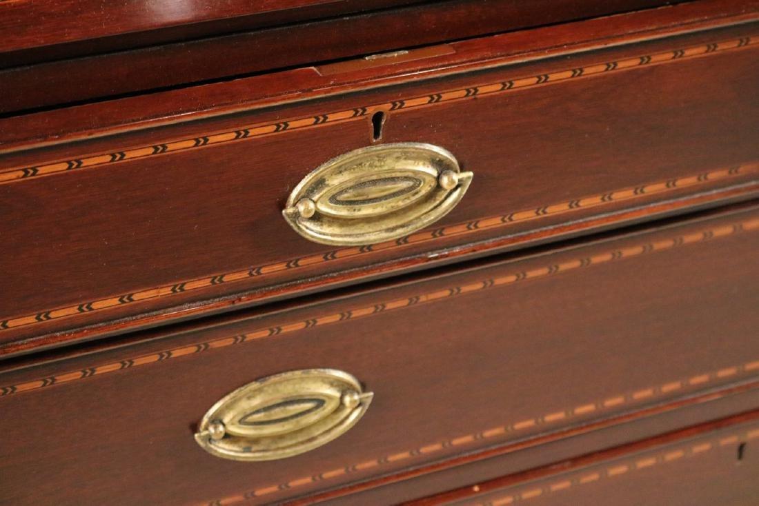Federal Style Inlaid Mahogany Bookcase Secretary - 3