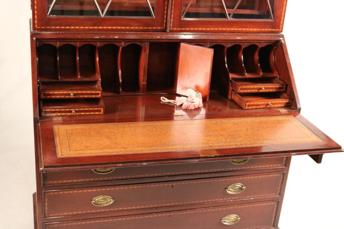 Federal Style Inlaid Mahogany Bookcase Secretary - 7