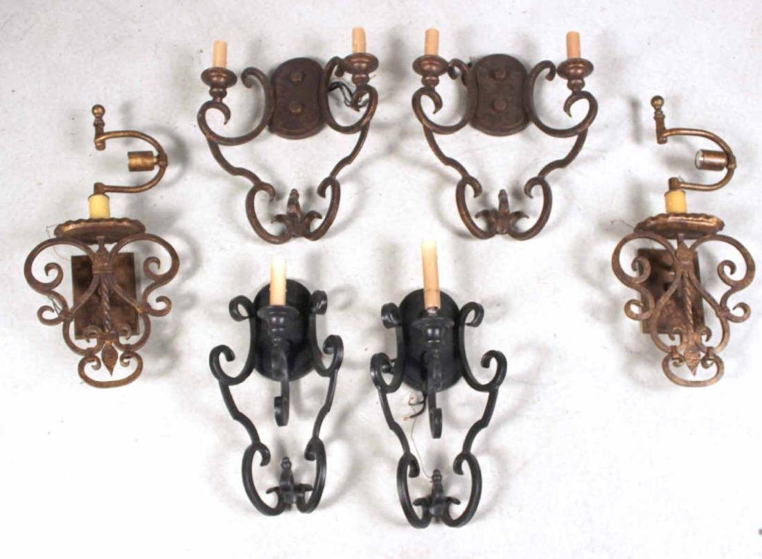 Three Pairs of Metal Wall Sconces