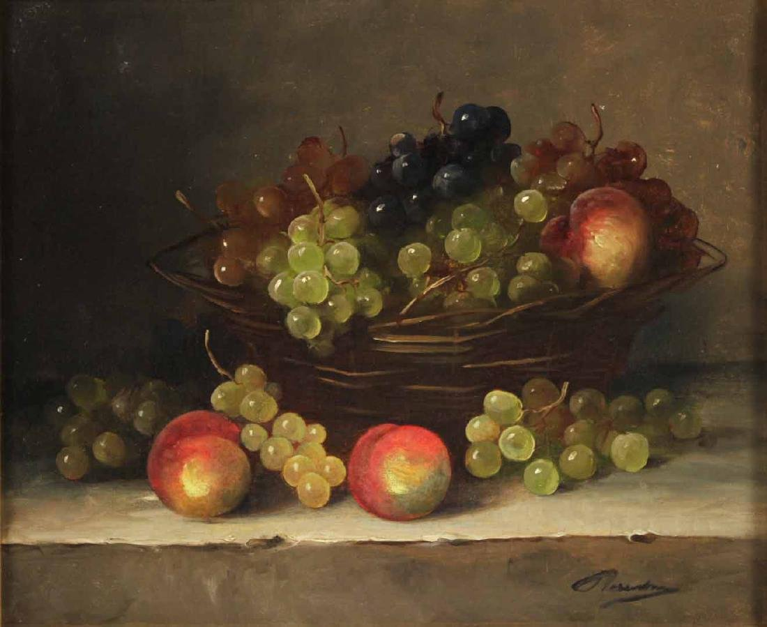Oil on Canvas, Still Life with Grapes - 2