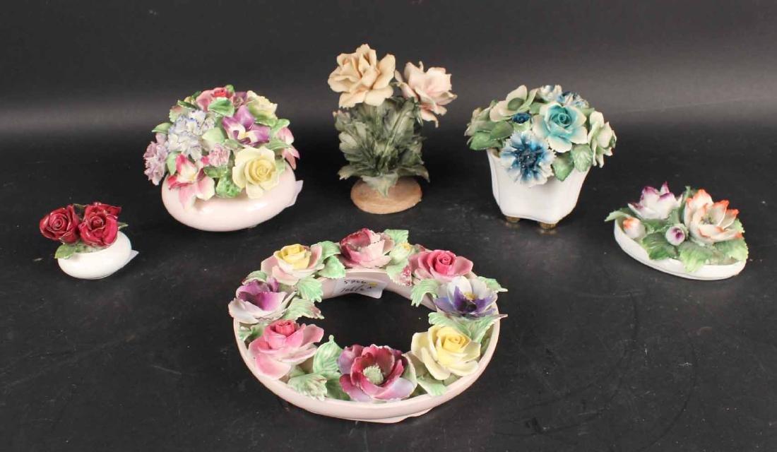 Six Porcelain Floral Arrangements