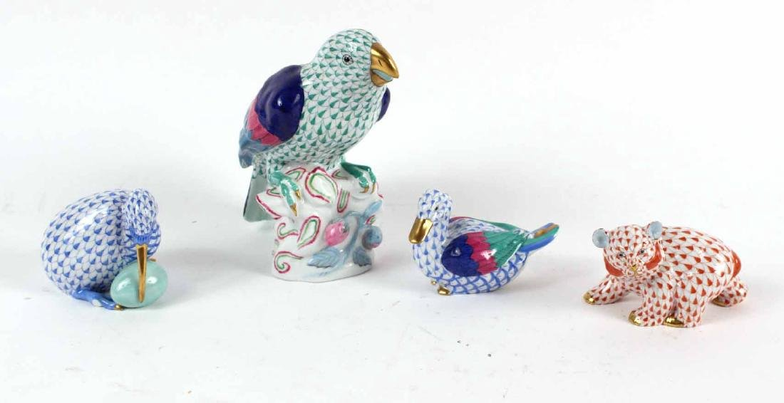 Four Herend Porcelain Animal Figures