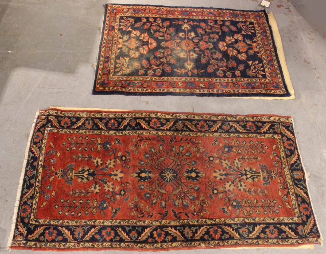 Two Sarouk Style Throw Rugs