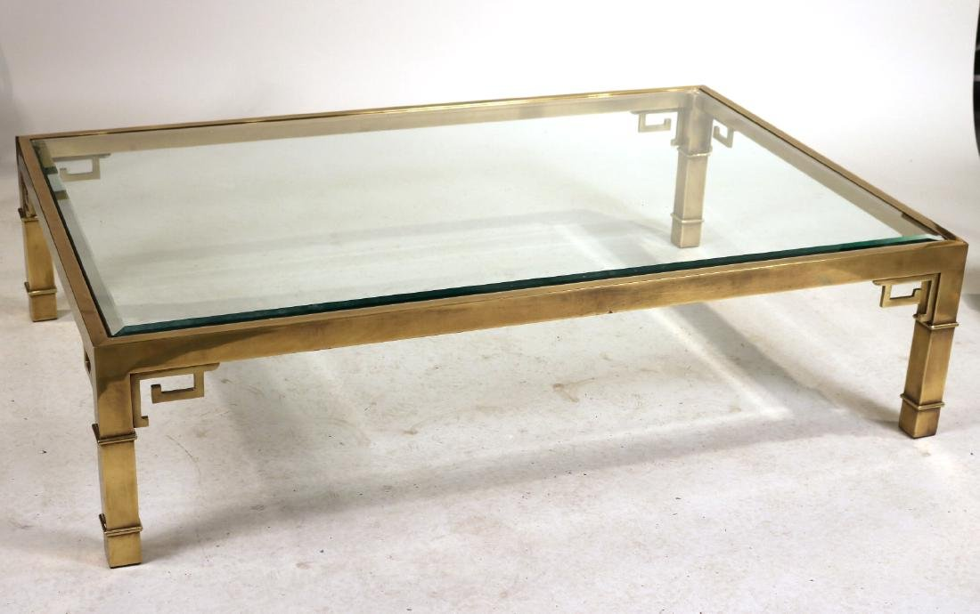 Contemporary Brass and Glass Low Table