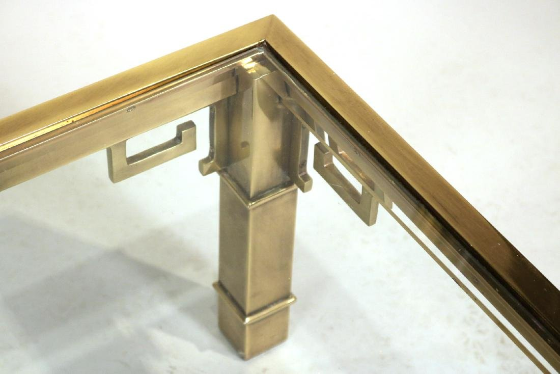 Contemporary Brass and Glass Low Table - 4
