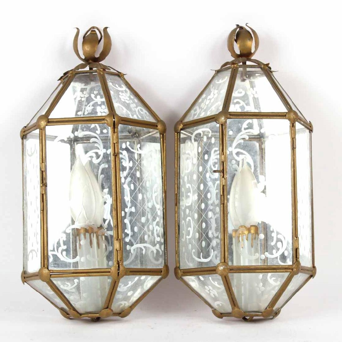 Pair of Gold-Painted Metal and Glass Wall Sconces