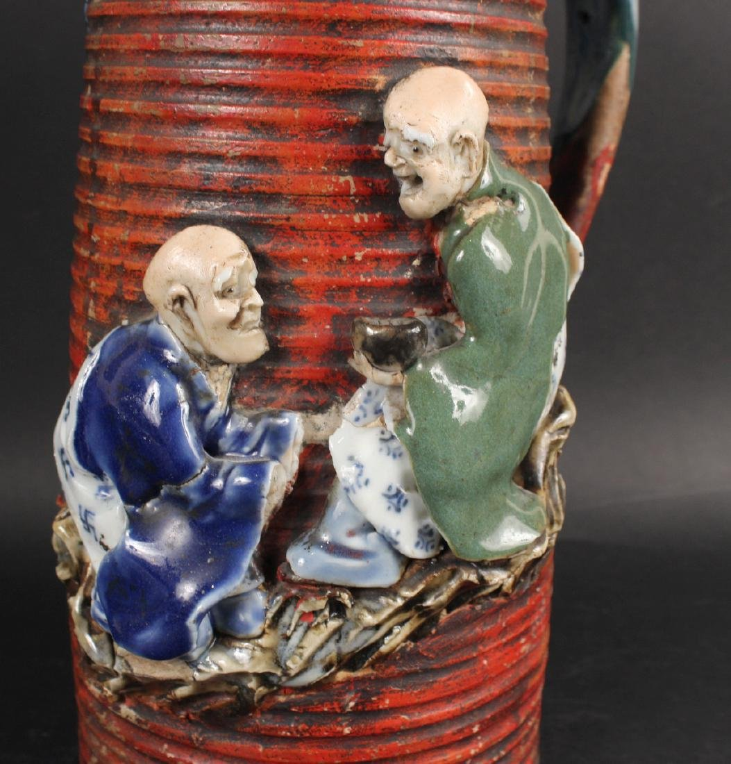 Japanese Pottery Figural Pitcher - 3