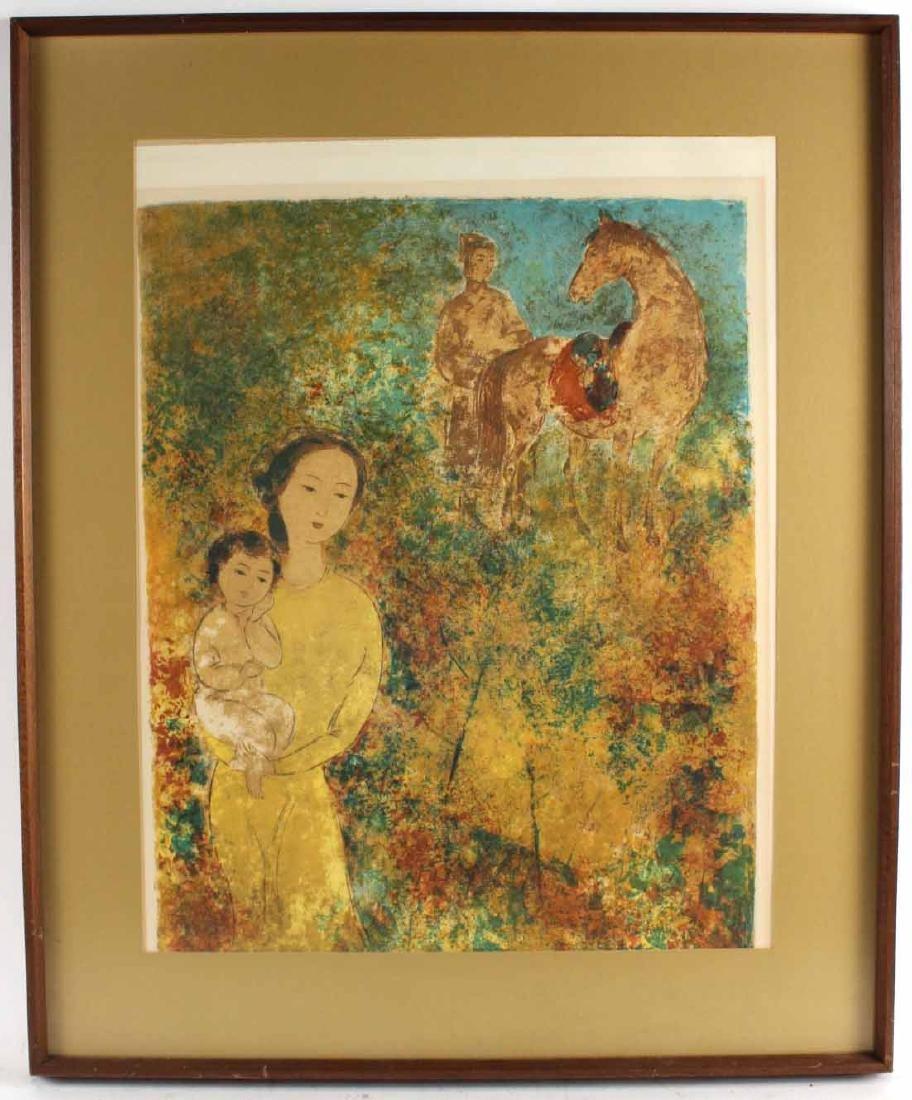 Color Lithograph, Mother & Child, Le Pho