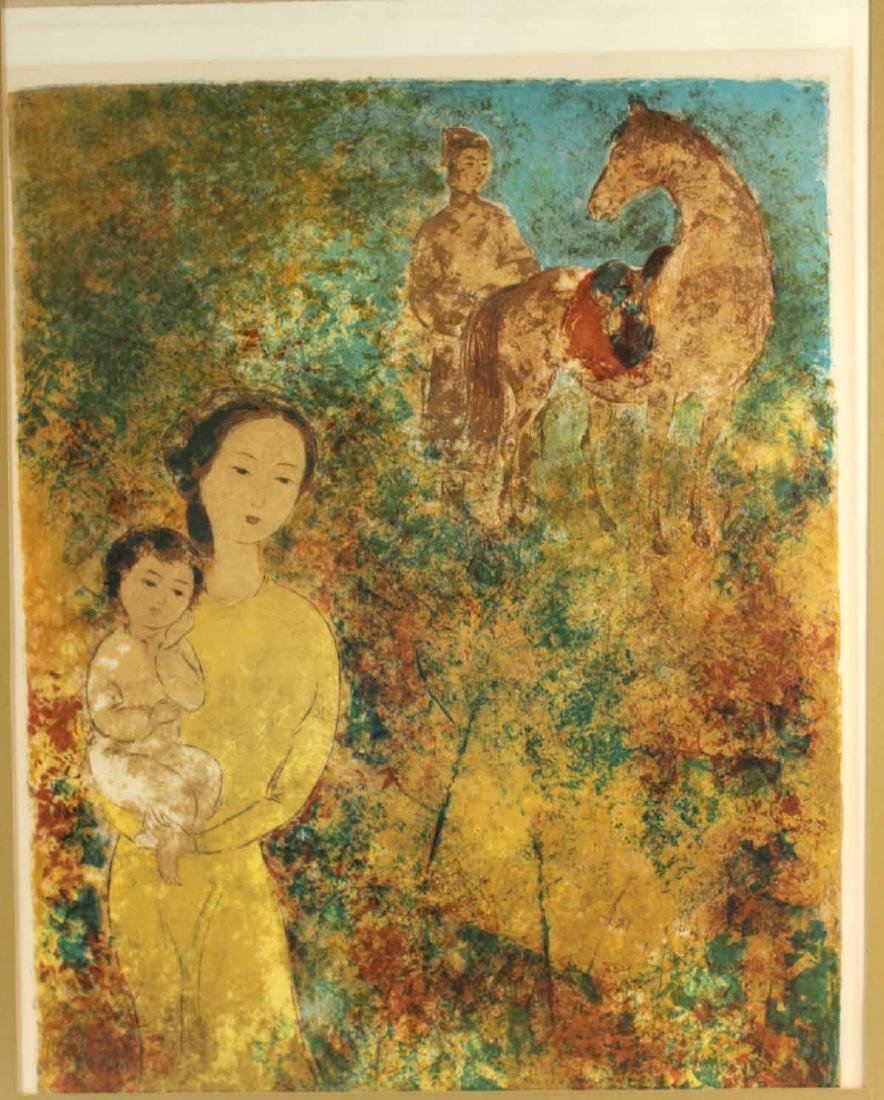 Color Lithograph, Mother & Child, Le Pho - 2
