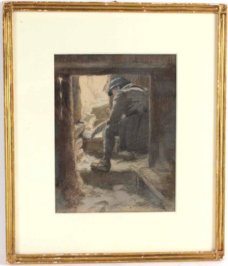 Pastel on Paper, French Military