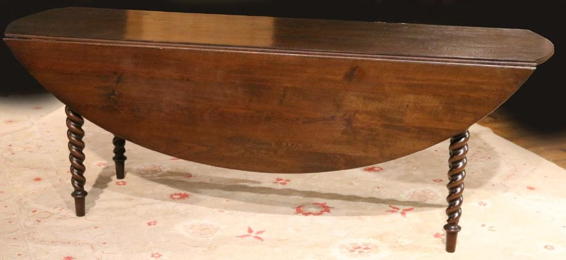 Baroque Style Mahogany Drop Leaf Dining Table