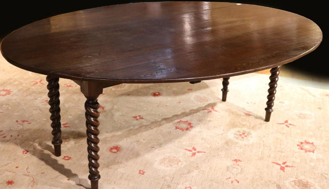 Baroque Style Mahogany Drop Leaf Dining Table - 2