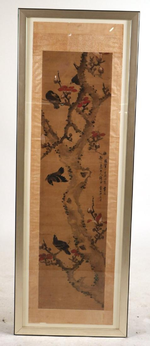 Framed Watercolor on Silk Scroll, Birds in Tree
