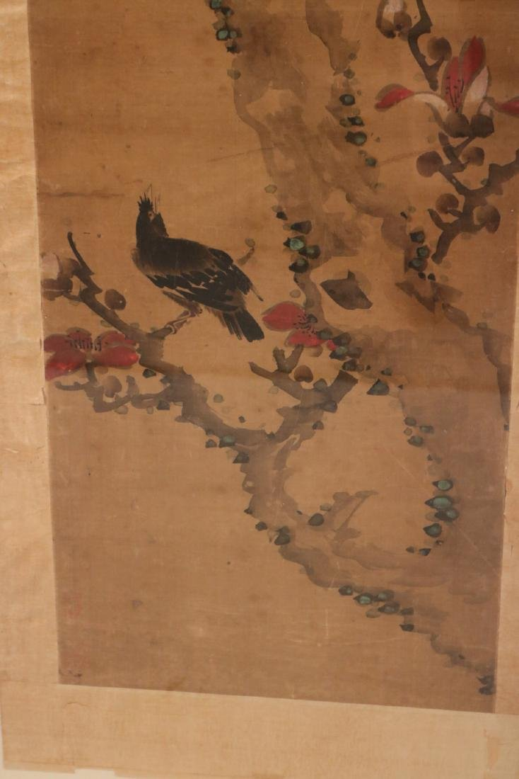 Framed Watercolor on Silk Scroll, Birds in Tree - 4