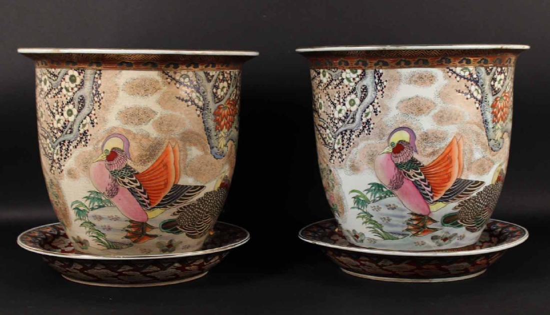 Pair of Chinese Porcelain Floral & Bird Planters
