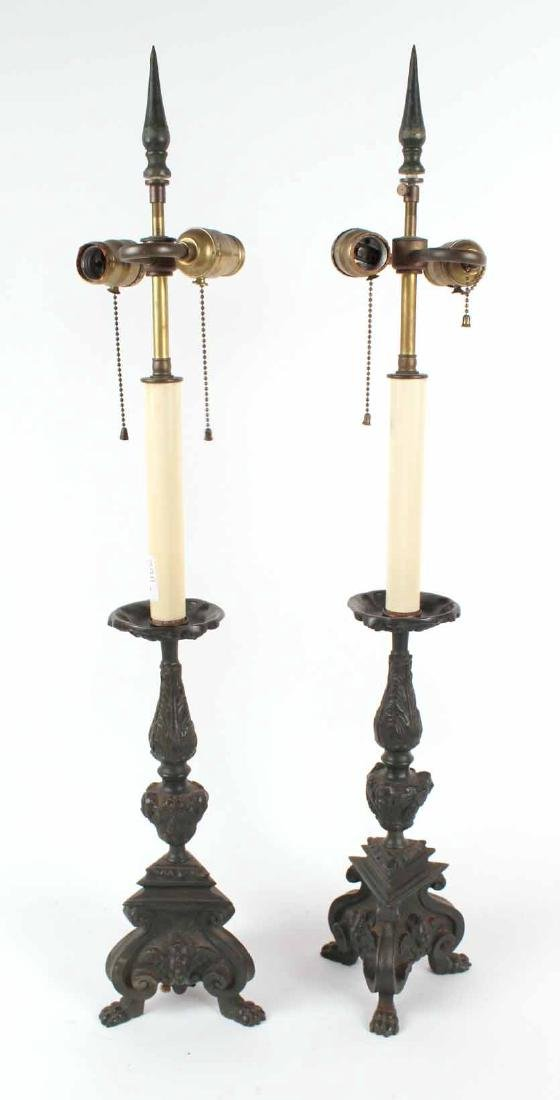 Pair of Neoclassical Style Patinated Metal Lamps