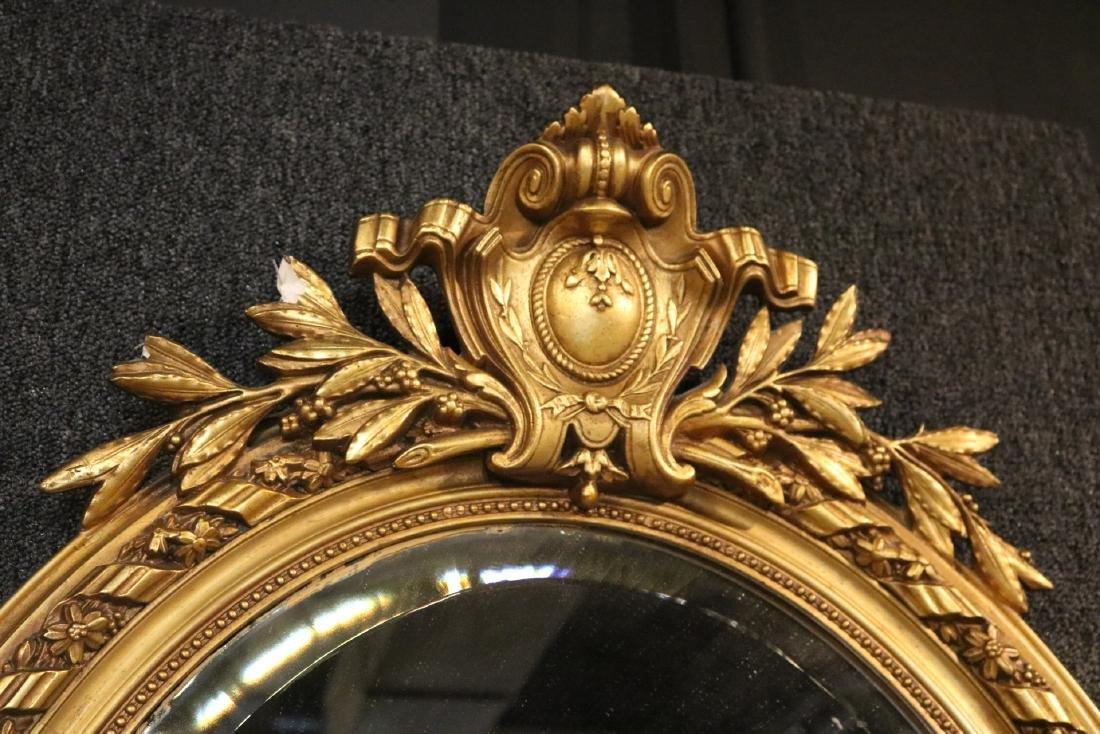 Louis XVI Style Giltwood Oval Mirror - 5