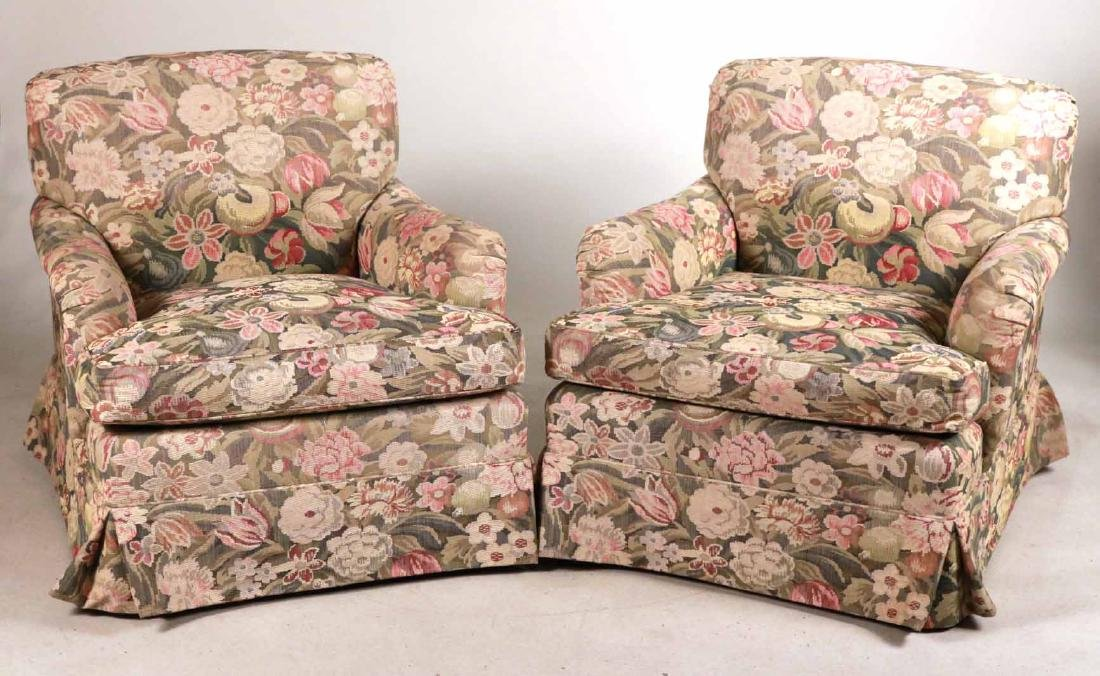 Pair of Floral-Upholstered Club Chairs