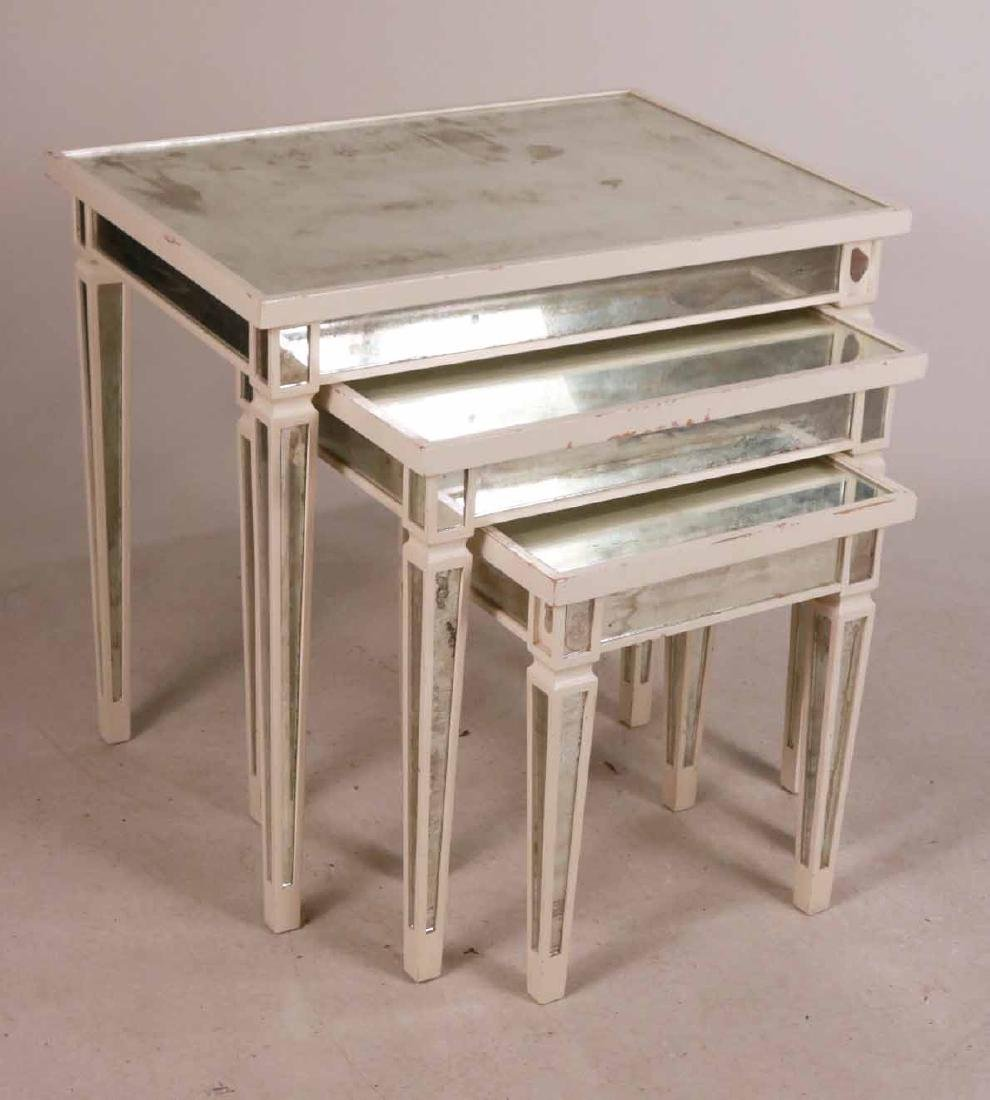 Three White-Painted Mirrored Nesting Tables