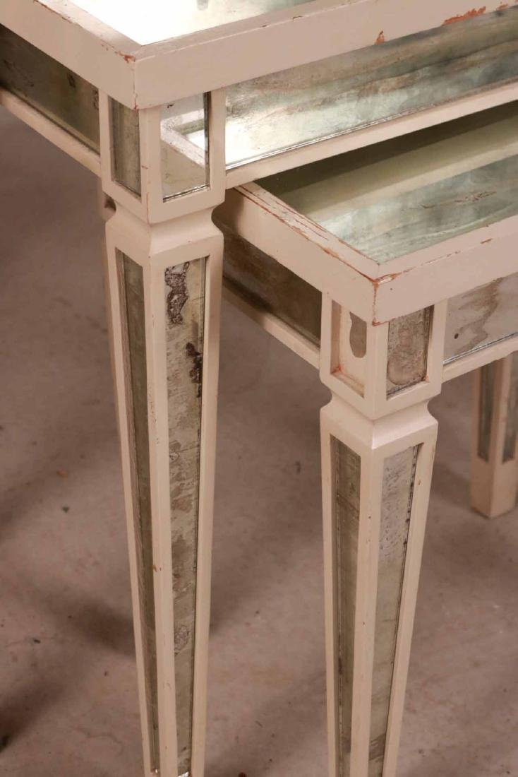 Three White-Painted Mirrored Nesting Tables - 2