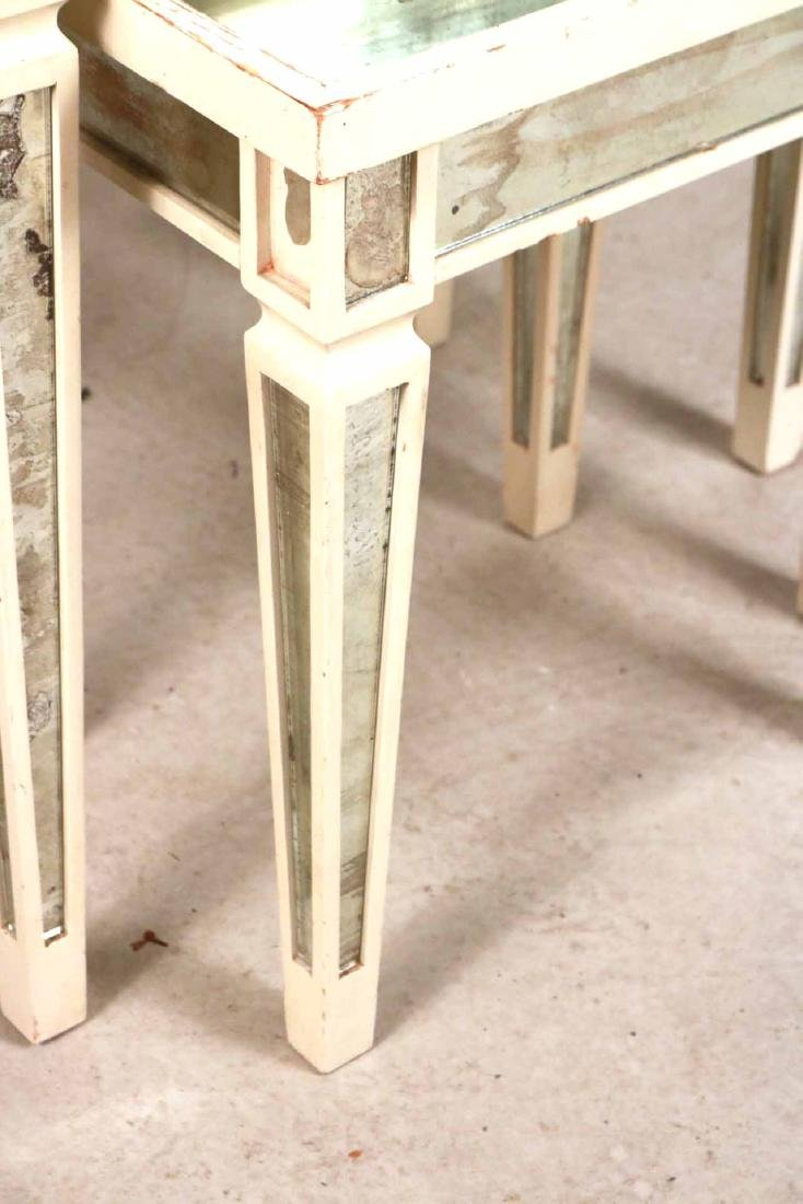 Three White-Painted Mirrored Nesting Tables - 3