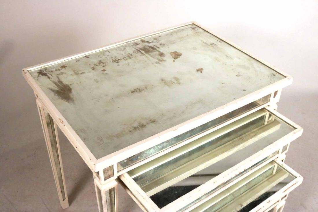 Three White-Painted Mirrored Nesting Tables - 4