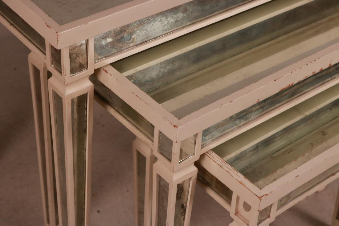 Three White-Painted Mirrored Nesting Tables - 5