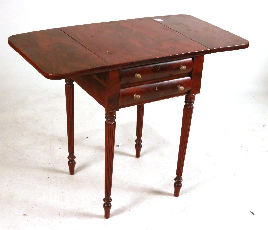 Federal Mahogany Drop-Leaf Work Table - 2