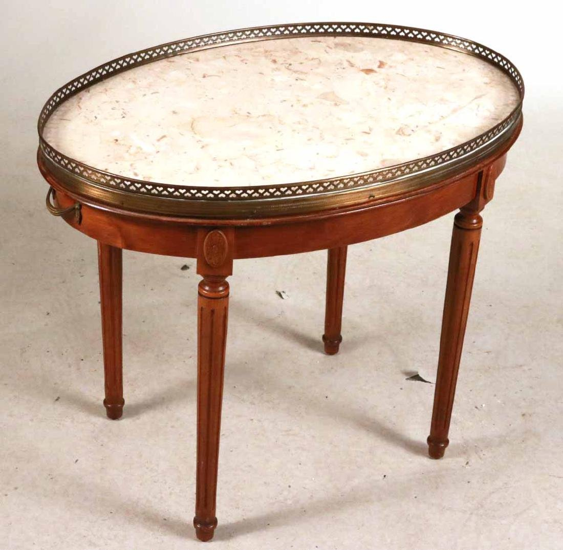Louis XVI Style Walnut Marble-Top Table