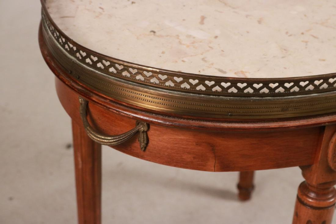 Louis XVI Style Walnut Marble-Top Table - 2
