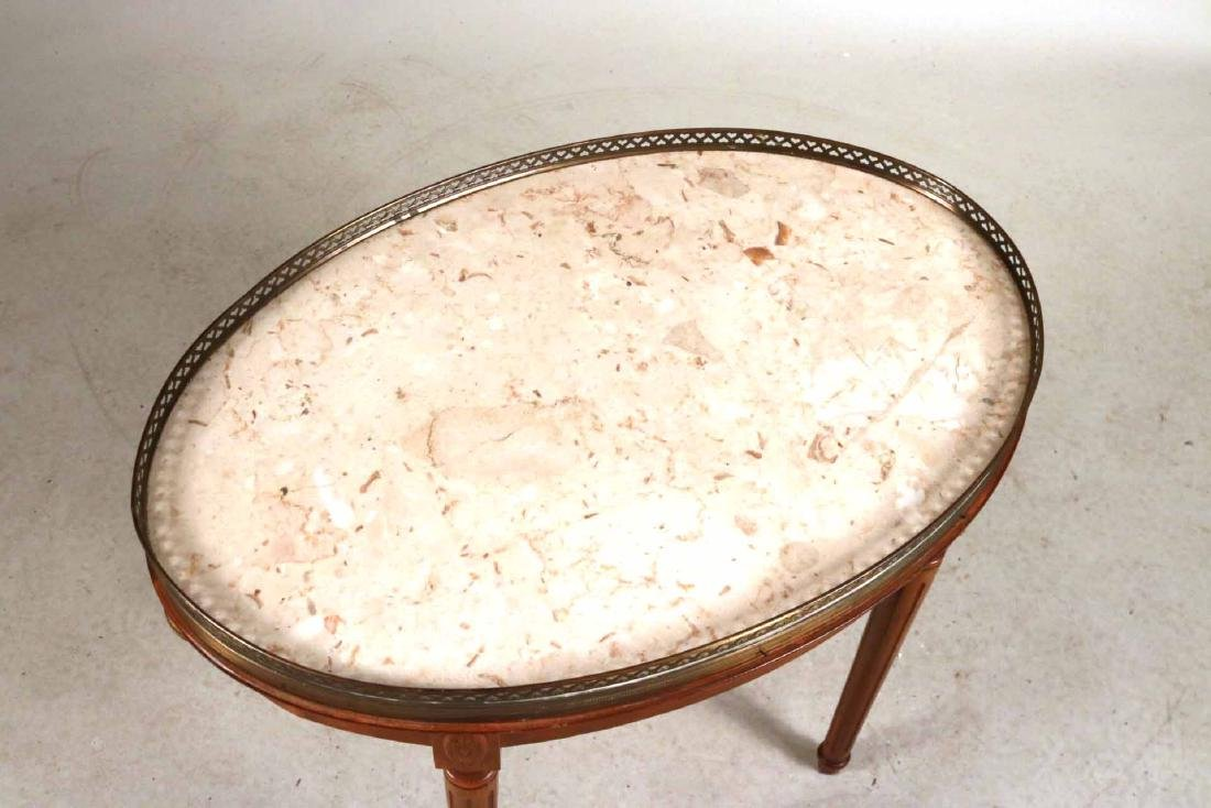 Louis XVI Style Walnut Marble-Top Table - 5