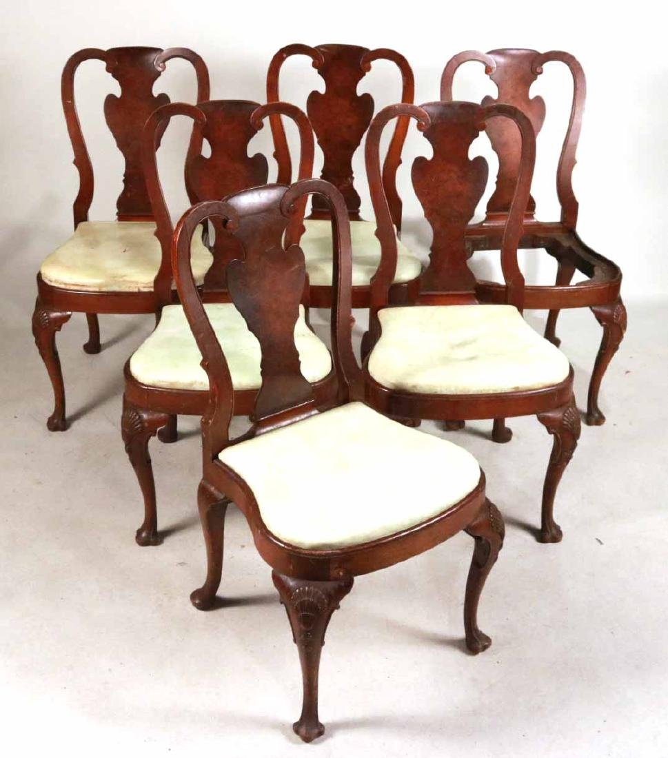 Six Queen Anne Style Walnut Dining Chairs