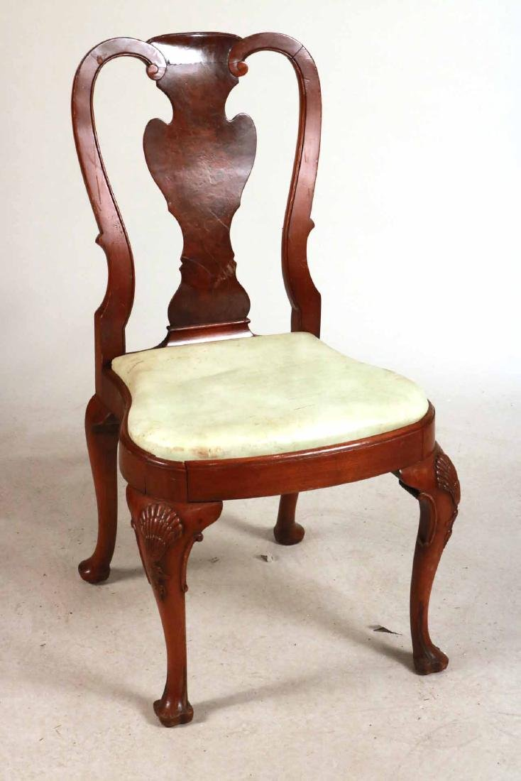 Six Queen Anne Style Walnut Dining Chairs - 4