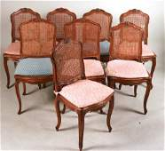 Six Louis XV Style Walnut Cane Seat Side Chairs