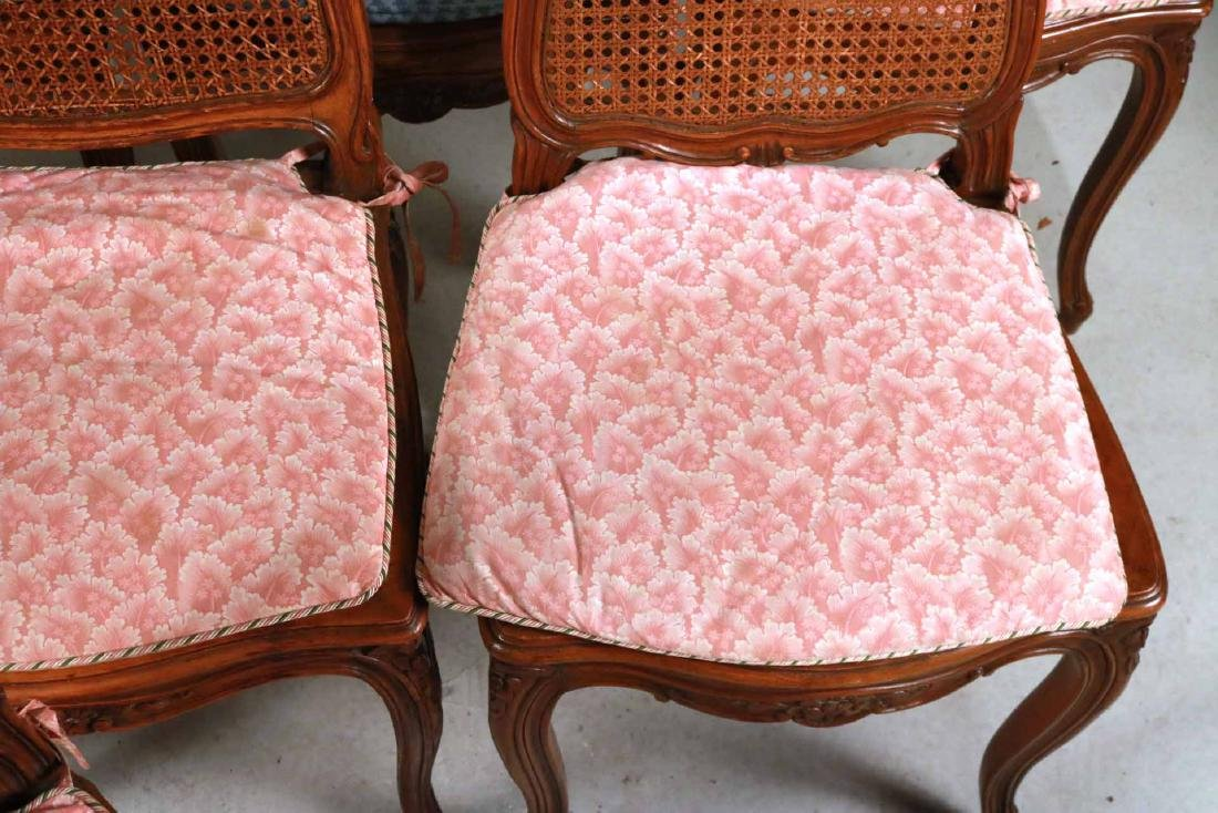 Six Louis XV Style Walnut Cane Seat Side Chairs - 3