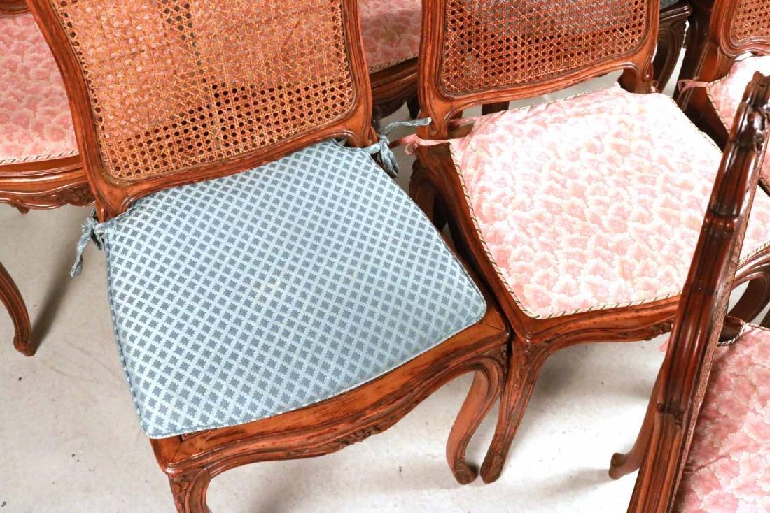 Six Louis XV Style Walnut Cane Seat Side Chairs - 4