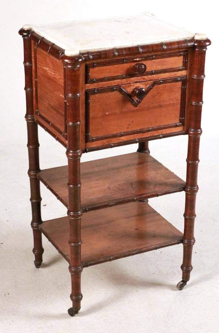Victorian Marble Top Pine and Mahogany Nightstand