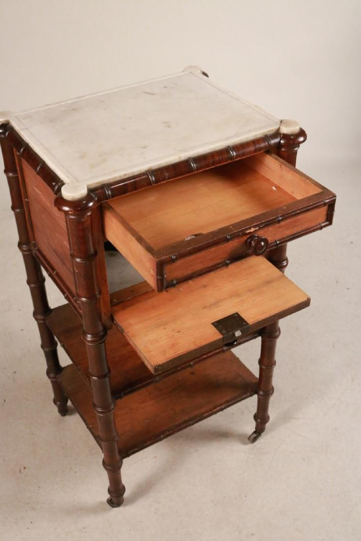 Victorian Marble Top Pine and Mahogany Nightstand - 7