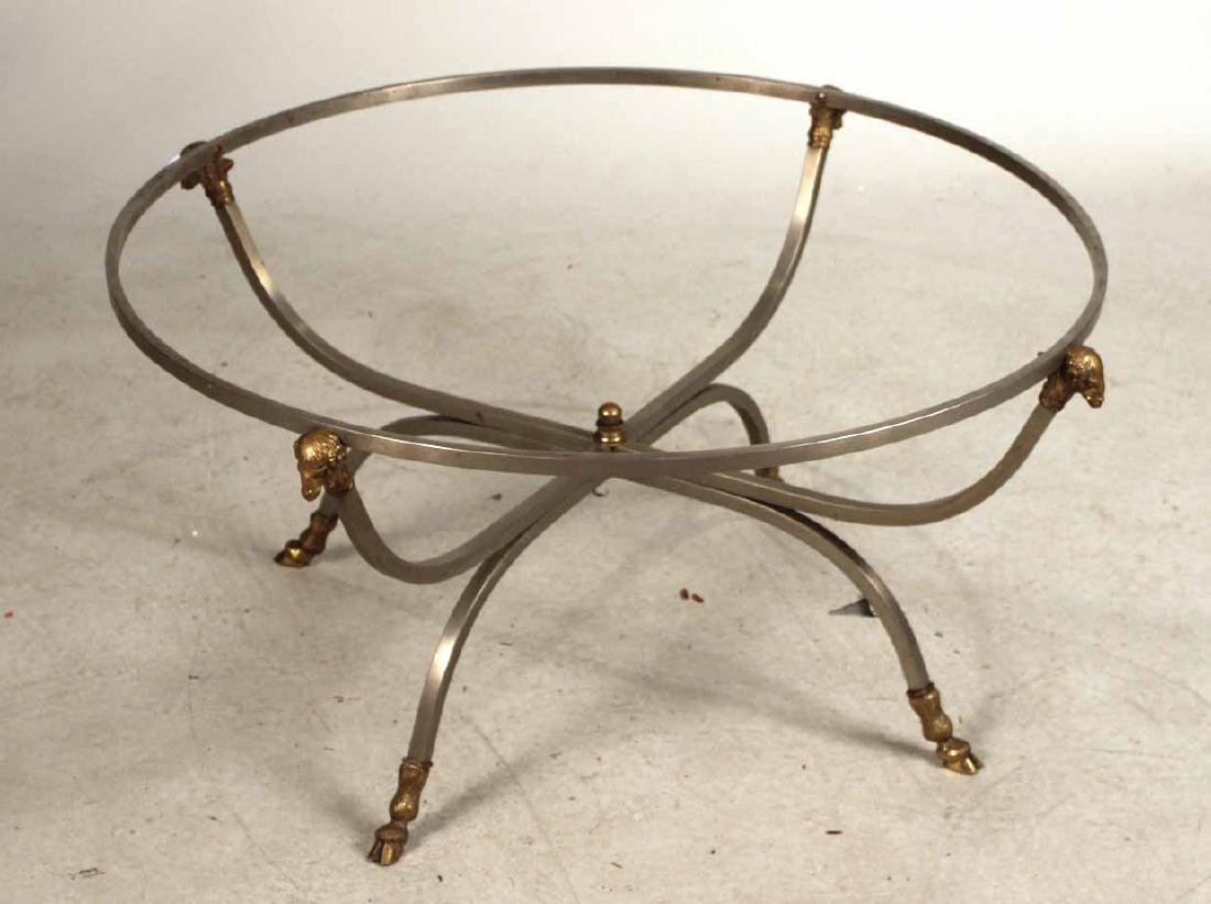 White-Metal and Brass Circular Low Table Base