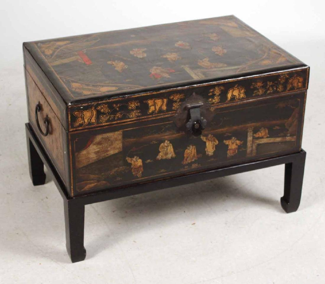 Chinese Black-Lacquer Chest on Stand