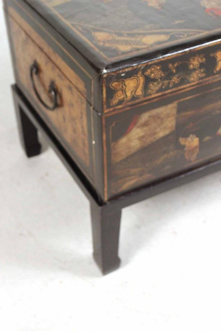 Chinese Black-Lacquer Chest on Stand - 2