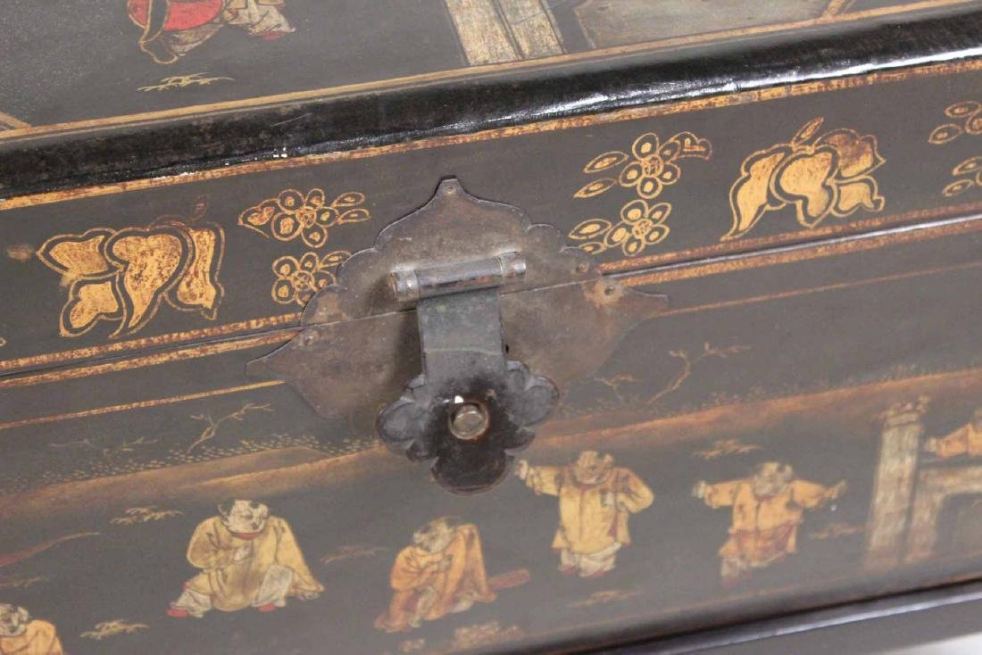 Chinese Black-Lacquer Chest on Stand - 3