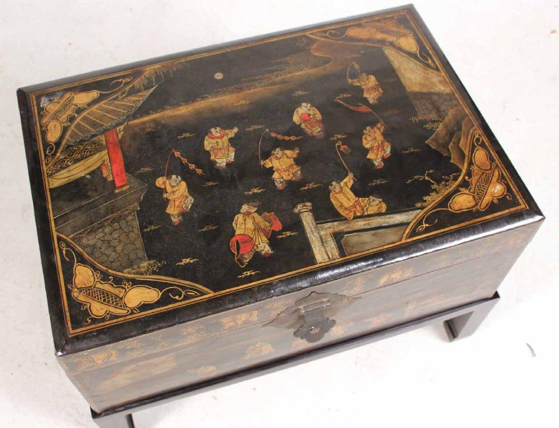 Chinese Black-Lacquer Chest on Stand - 4