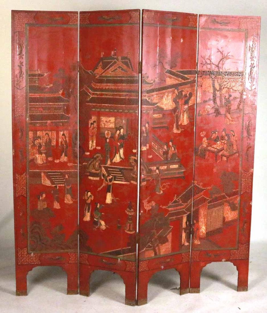 Chinese Red-Lacquer Four Panel Screen