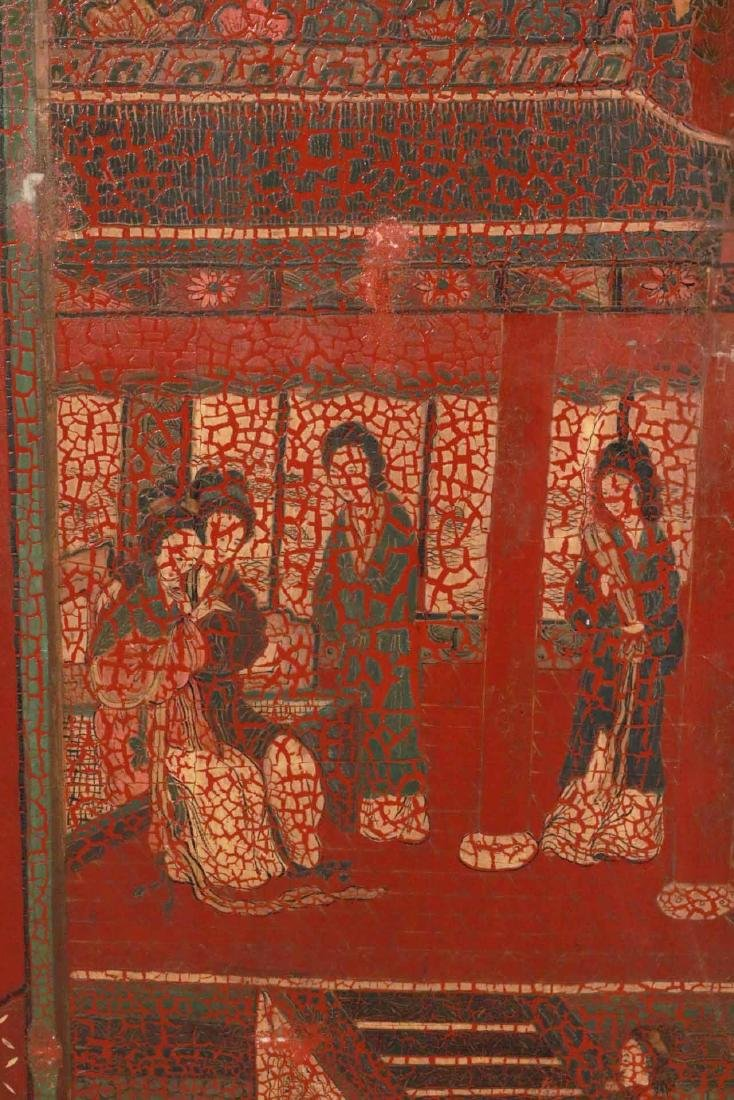Chinese Red-Lacquer Four Panel Screen - 2