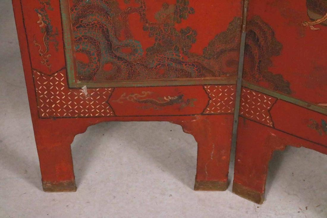 Chinese Red-Lacquer Four Panel Screen - 4